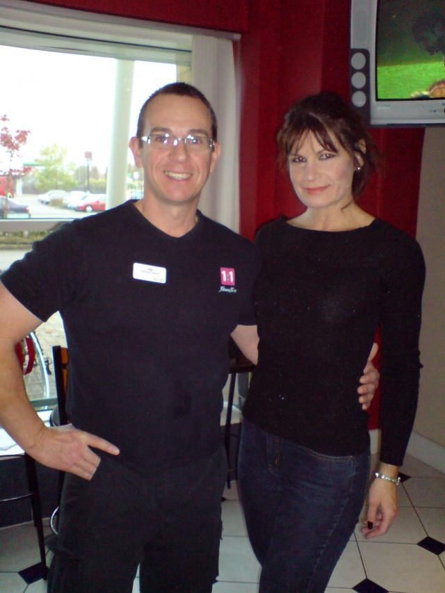 Image of Personal Trainer Tim Sharp With a client a 43 year old mum has lost 4 stone so far with my diet and training