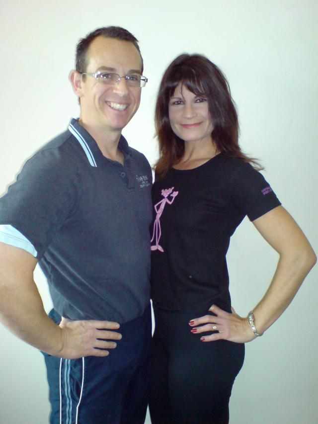 Image of Personal Trainer Tim Sharp and Client  4 stone lighter and 10 inches of her waist!