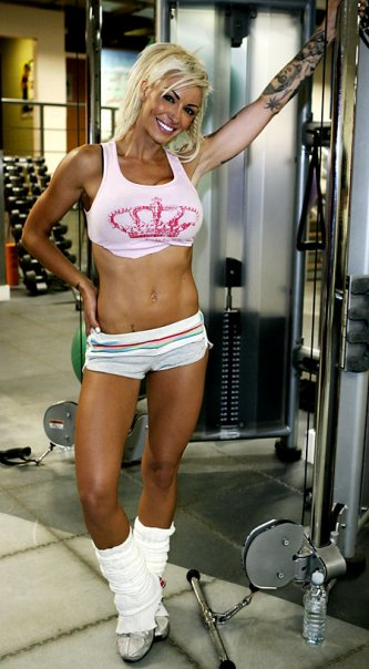 Image of Jodie Marsh photo shoot for Muscle & Fitness summer 2009. Trained by Personal Trainer Tim Sharp