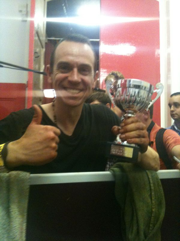 Image of Personal Trainer Tim Sharp celebrating Jodie Marsh success in 2011