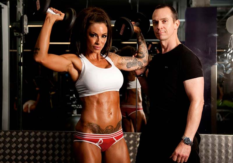 Image of Tim Sharp Personal Trainer and Jodie Marsh during a training session at the gym