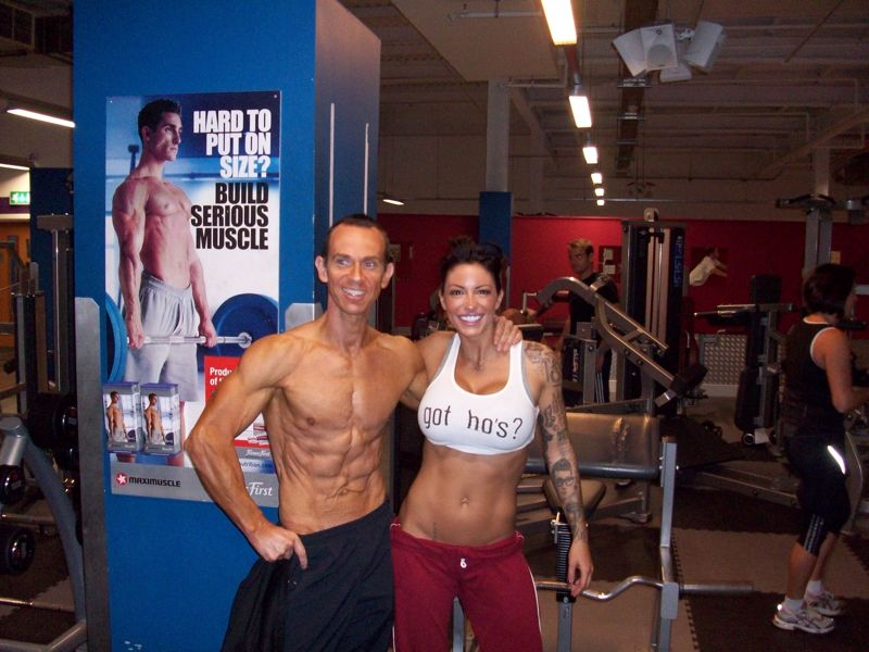 Image of Celebrity Personal Trainer Tim with Jodie Marsh she has built a body that the media can`t get enough of with the help of Tim Sharp