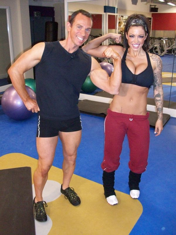 Image of Jodie Marsh with her Personal Trainer Tim Sharp 2009