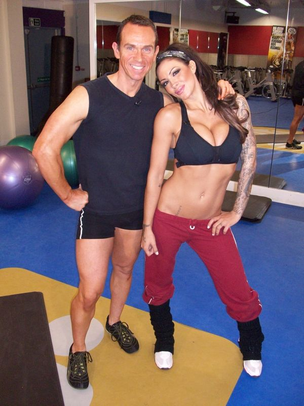 Image of Jodie Marsh with her Personal Trainer Tim Sharp 2009. Filming for the Active Channel Tim Sharp TV show 6 Pack In 4 Weeks