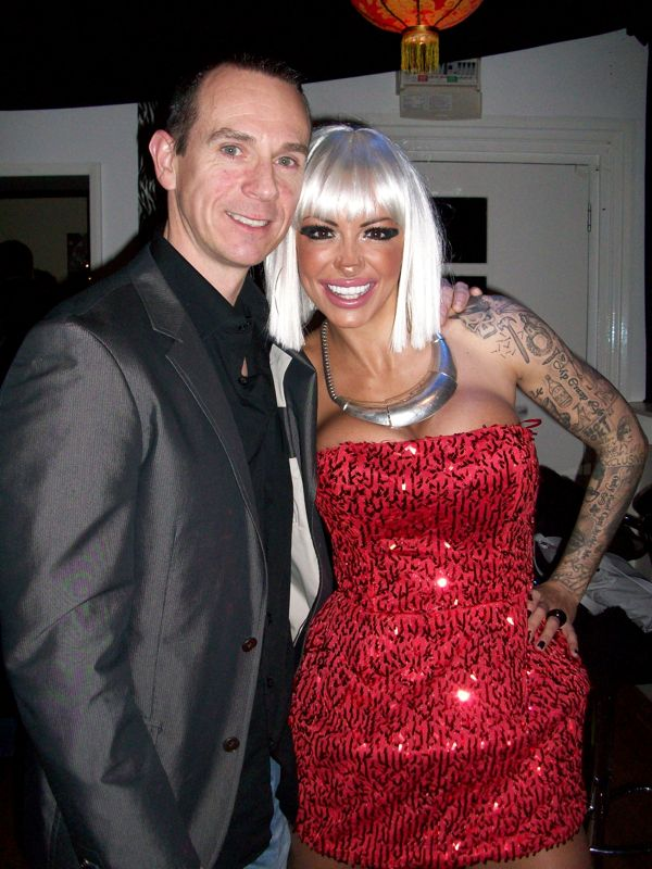 Image of Jodie Marsh with her Personal Trainer Tim Sharp 2009. Birthday night out with Jodie