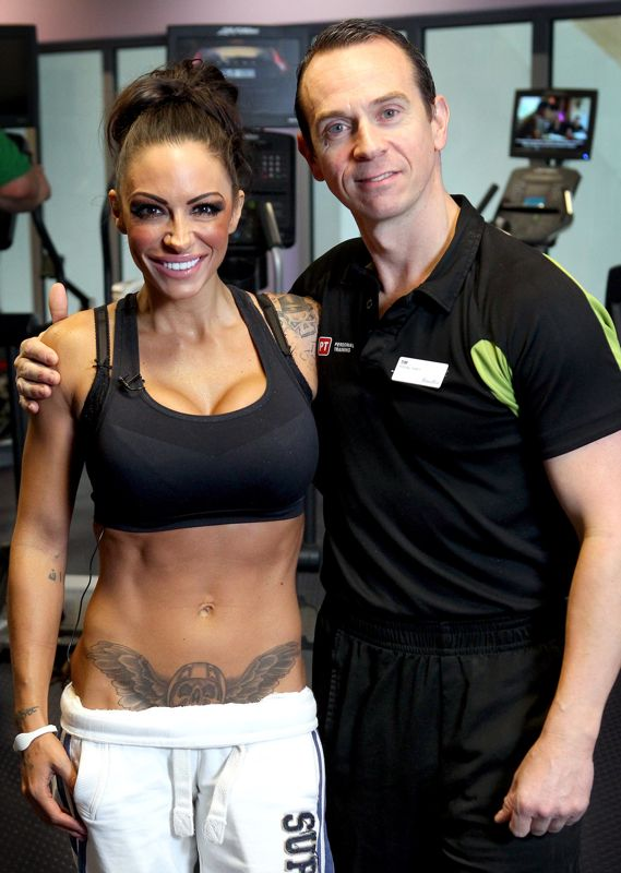 Image of Jodie Marsh and Personal Trainer Tim Sharp on the set of the TV programme Jodie Marsh Bodybuilder