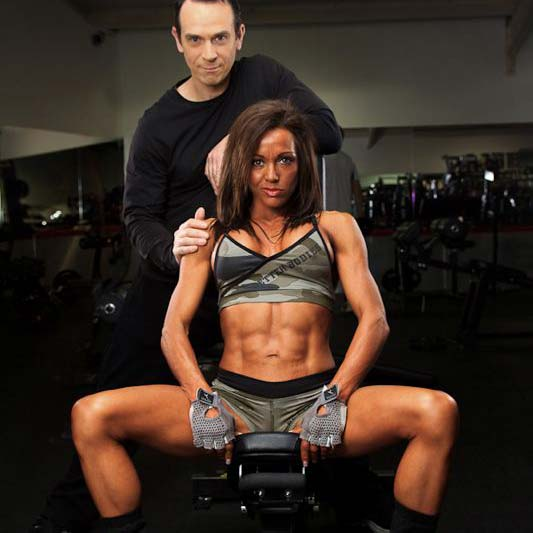 Rachel Turner and Tim Sharp: Rachel and Tim relax in the gym after one of her workouts.  Follow Rachel's progress to top level competition in my latest TV programme.