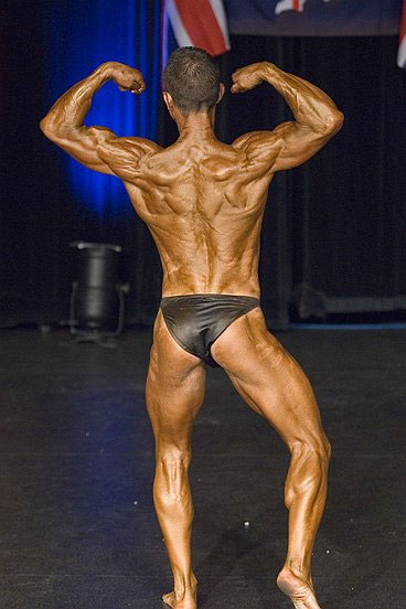 Image of Tim`s back double biceps pose at the November 2007 BNBF Britain